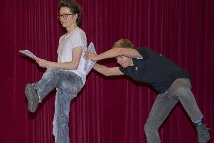 Members of the cast rehearse for Aladdin