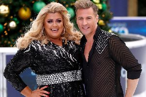 Gemma Collins and Matt Evers during a photocall for the new series of Dancing On Ice at the Natural History Museum Ice Rink . (Photo by John Phillips/Getty Images)