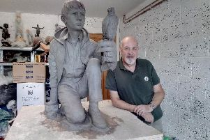 Graham Ibbeson and his Kes sculpture in clay