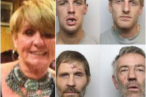 Jacqueline Wileman (left) and the four defendants. Pictured top left Karn Hill, Wayne Carroll, bottom left, Alan Wawhinney, David Mellor