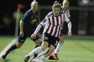 Veatriki Sarri of Sheffield Utd's Women during the The FA Women's Championship match at the Olympic Legacy Park, Sheffield. Simon Bellis/Sportimage
