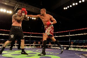 Australia's Lucas Browne (left) in action against Sheffield's Richard Towers