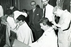 The Sheffield & District Gentlemen's Hair Styling Academy competitions taking place in the St. Augustine's Hall, March 25, 1963'Seen are the apprentices competitions in progress