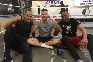 Tommy Frank, centre, with Lee  Edwards and Shawn Malcolm