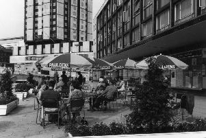 Cafe area outside Pauldens Ltd, department store, on Charter Square, 1970s