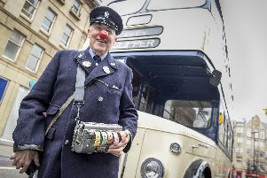 Bob Hallam, who dressed as a bus conductor to raise money for Comic Relief
