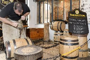 Theakston's cooper, Jonathan Mamby demostrating the art of barrel making at the Stew and Oyster in Kelham Island.