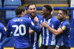 Sheffield Wednesday players mob Dominic Iorfa after his goal.......Pic Steve Ellis