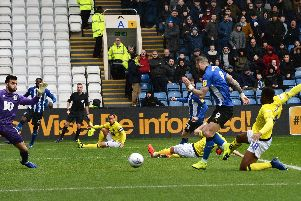 Owls Steven Fletcher side foots home the first goal against Blackburn. Pic Stve Ellis.