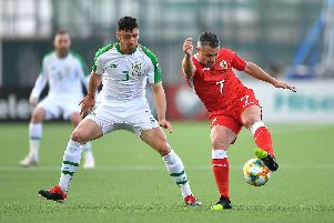 Republic of Ireland's Enda Stevens (left) and Gibraltar's Lee Casciaro (right) battle for the ball: Simon Galloway/PA Wire.