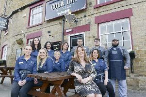 The Cock Inn, Oughtibridge, with publican Jenni Murphy and her staff outside the refurbished pub in Sheffield