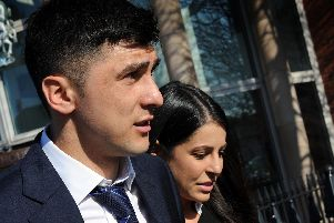 Fernando Forestieri leaves Mansfield Magistrates Court with his partner after his not guilty verdict on Thursday.