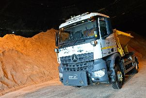 A Sheffield Council gritter pictured in the salt store