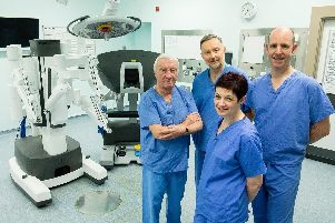 Sheffield businessman and chairman of The A&S Leisure Group, Dave Allen (far left) made the 1.3 million personal donation to buy Sheffield Teaching Hospitals a state of the art Surgical Robot which is installed at Sheffield Royal Hallamshire Hospital'' Copyright Paul David Drabble'20th March 2019' www.pauldaviddrabble.co.uk