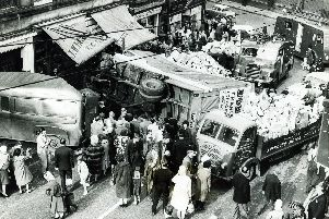 The chaotic scene after a road accident on Duke Street, Sheffield, in 1963