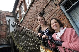 Harry Brearley's descendants Anne Brearley and Hannah Brearley at Portland Works, which is described as the birthplace of stainless steel manufacturing (pic: Steve Ellis)
