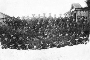 Archibald Goodall with the Alexandra, Princess of Wales's Own Yorkshire Regiment in Archangel, Russia. It's not known where he is on this picture'submitted by Margaret Howard