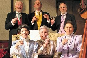 The Parkers (Paul Archer and Sue Shearsmith), Helliwells (Jon Haddock and Sheree Smallwood) and Soppitts (Tim Smallwood and Janet Skirrow) in rehearsal for HADIT's production of JB Priestley comedy When We Are Married