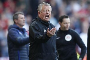 Chris Wilder manager of Sheffield Utd during the Sky Bet Championship match at Bramall Lane, Sheffield. Picture date: 19th April 2019. Picture credit should read: Simon Bellis/Sportimage