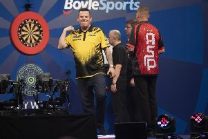 BoyleSports World Grand Prix quarter-final game on Thursday between Dave Chisnall and Nathan Aspinall. Picture: Lawrence Lustig/PDC.