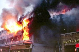 A picture of the Lancaster Market fire in October 1984. Picture by Bernard Breslin.