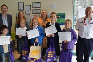 Anya Rowland (Moorside School), Rachel Haywood (Scotforth School) and Rowan Smith, Rudy Welbourne and Selma Pinkse (Lancaster Steiner School) were presented with their awards by Rod Steele Lancaster Fire Station manager and Janet Tay from the Lune Valley Flood Forum.