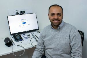 Co-founder Dr Zubair Ahmed with the new Medicspot digital health service, complete with blood pressure, thermometer, pulse oximeter, close examination camera and stethoscope connected devices. The station will be introduced to pharmacies across Morecambe early next year.