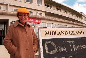 Dame Thora Hird outside the Midland Grand  Hotel in Morecambe.