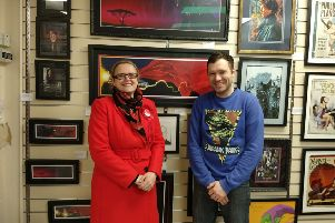 Lizzi Collinge with Tom Chesters at Bay Framing in Morecambe.