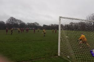 Bowerham Dynamos v Westgate Wanderers in the Senior Cup (Bowerham penalty). Picture: Michael Ball.
