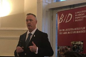 Clive Grunshaw, Lancashire Police and Crime Commissioner speaking at the BID breakfast meeting.