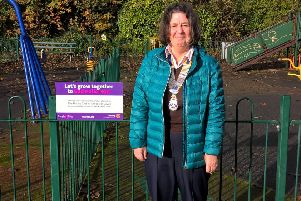 Susan Wilson at Happy Mount Park in Morecambe where 5,000 crocus bulbs have been planted as part of a drive to rid the world of polio.