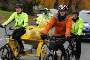 The One Show presenter Matt Baker is cycling with Team Rickshaw as they travel from London to Glasgow.