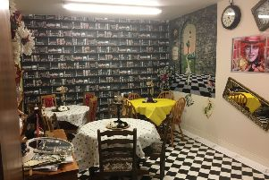 The Alice in Wonderland-themed tea room at JG's Burrito Bar in Middleton near Heysham.