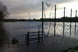 A playing field next to The Bay Gateway close to Lancaster and Morecambe College under water on Thursday morning.