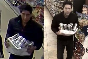 Wanted thief is doppelganger of David Schwimmer aka Ross from Friends, pictured right