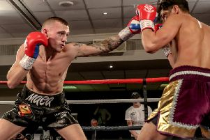 Reece MacMillan on his way to victory over Ricky Rose in Wigan. Picture: Karen Priestley Photography