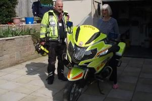 Blood biker Russell Curwen pictured with his mother, Pat