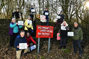 Photo Neil Cross'Councillors and residents protesting against housing plans on Freeman's Wood in Lancaster
