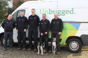 The Unbugged team. From left, Ron Haygarth, Lee Illingworth, James Bland, Mike Tyrrell (with Lemmy the whippet) and Andy Henworth (with Freddie the English Springer Spaniel)
