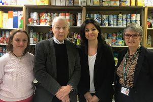 Siobhan Collingwood, head of Morecambe Bay Primary School, Frank Field MP, Heidi Allen MP and Annette Smith, Foodbank Manager.