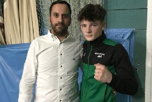Top prospect Alex MacMillan with sponsor Marcus Harrington.