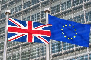 ADOBE STOCK'Brexit - Uk and European flags waving in the wind (3D rendered)