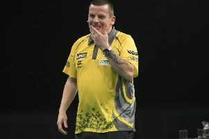 Dave Chisnall lost to Michael van Gerwen. Picture: Lawrence Lustig.