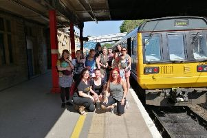 The group just before setting off for Clapham at Lancaster railway station.
