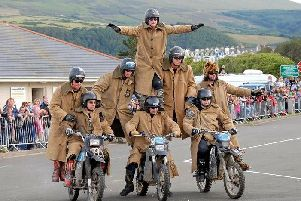 See zany motorcycle stunt group The Purple Helmets at Scorton Steam Festival