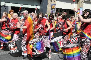 Batala Lancaster entertain the crowds at Lancaster Pride.
