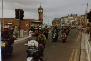 Scooters in Morecambe in 1980.