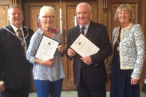 Niki Penney (second left) on becoming Lancashire's first Honorary Alderwoman with new Honorary Alderman Tony Jones, County Coun Paul Rigby, chairman of Lancashire County Council, and County Coun Susie Charles, vice-chairman.