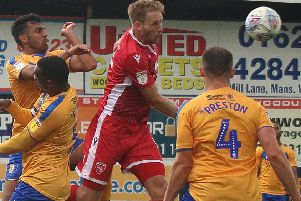 Steve Old scored both Morecambe goals in Tuesday night's game at Mansfield Town